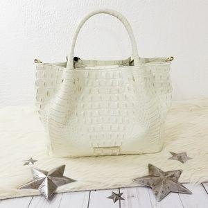 Brahmin Mallory Satchel bag Crystal off-white gold